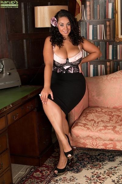 Older ebony MILF Anastasia Lux posing for solo girl photo shoot in lingerie