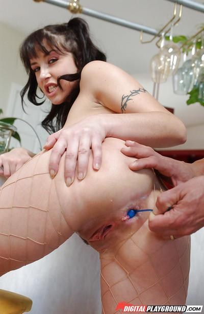 Ravishing whore Tiffany Hopkins having hardcore fun with anal beads