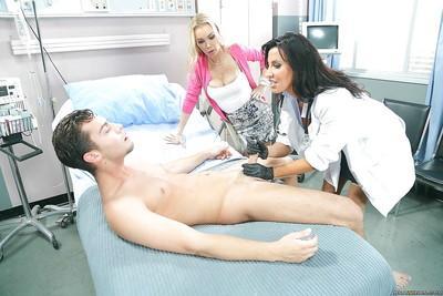 Threesome sex features milf nurse Devon and hot chick Lezley Zen