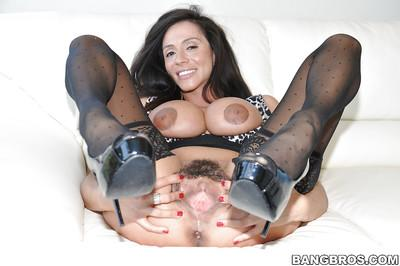 Gorgeous MILF with amazing tits Ariella Ferrera teasing her hairy cunt