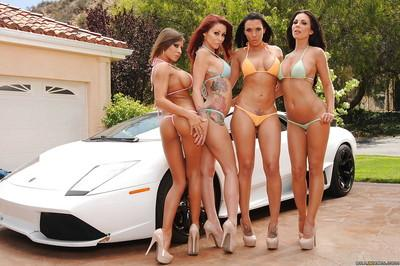 Four incredibly hot ladies getting rid of their tiny bikinis outdoor