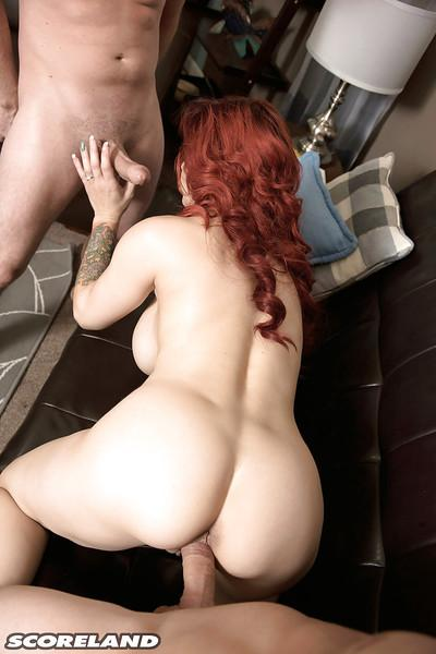Redheaded Latina mom Alyssa Lynn exposing nice melons while giving MMF bjs
