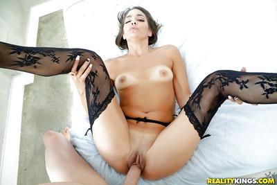 Stocking and garter clad MILF Bobbi Rydell taking hardcore doggystyle fuck