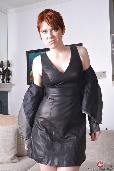 Redheaded mom Lily Cade hikes leather dress to spread hairy vagina