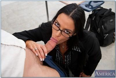 Brunette MILF teacher Vanilla DeVille wears stockings in reality porn.