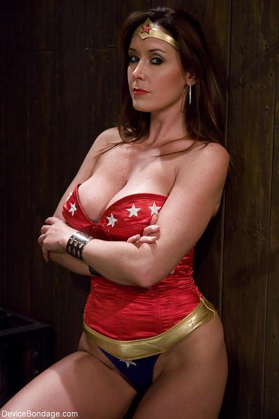 Christina Carter plays Wonder Woman during kinky Device Bondage porn shoot