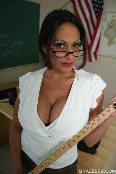Big titted Latina MILF teacher Ava Lauren spreads her long legs