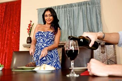 Indian milf wife Priya Anjeli Rai with big tits in bed with a strander