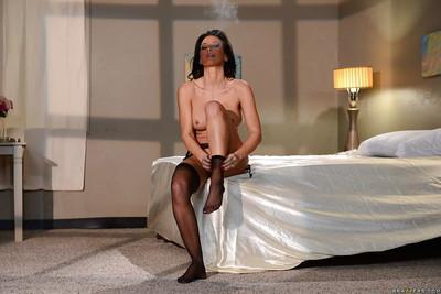 Outstanding big tit stewardess Lezley Zen getting dressed for work