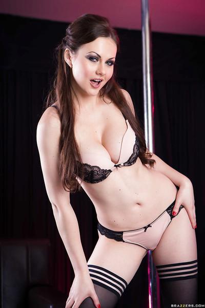 Unbelievably curvy European babe Tina Kay posing in hot stockings
