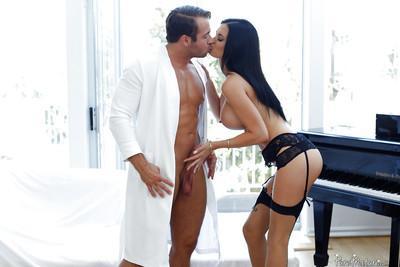 Busty brunette mom Jasmin Jae giving big cock a bj on knees in stockings