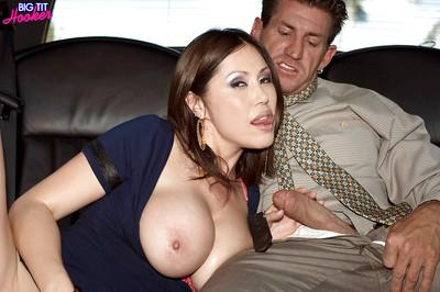 Busty mom Kianna Dior taking cumshot on juggs after shaved cunt banging