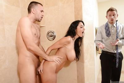 Brunette milf with big boobs Ava Addams gets two cocks in the shower