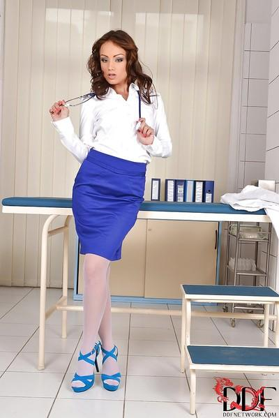 Flawless milf-nurse Sophie Lynx is rocking hard when she undresses