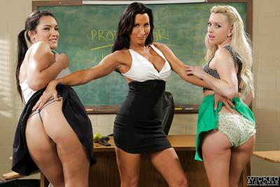 Lesbian teacher Lezley Zen seduces students Lexi Belle and Paisley Parker