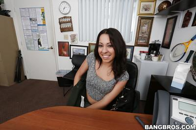 Hot Latina MILF Sophia Torres exposing ass and tattoos at work