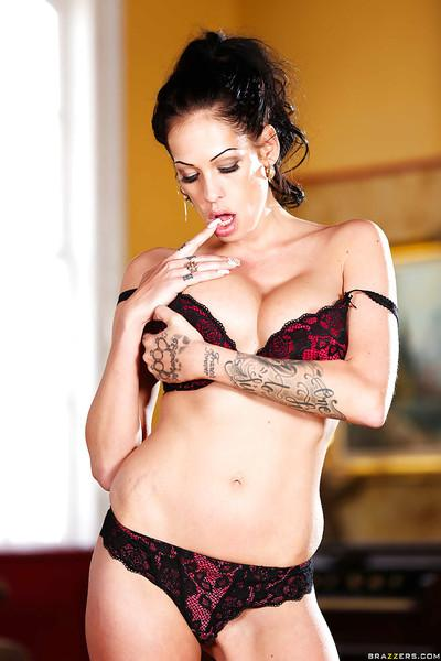 Tattooed brunette wife Kelly Summer strips down to boots and socks