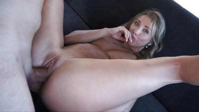 Blonde Euro slut Rita Rush jerking fat penis in back of fuck van