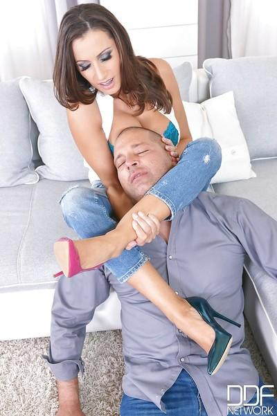 Hot milf Sensual Jane gets banged spoon-style by hungry bald dude