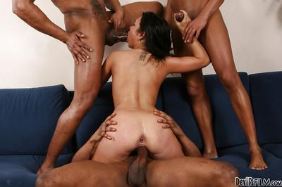 Insane group sex with interracial friend of a hot Black Angel