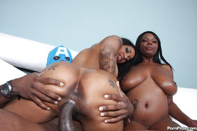 Ebony witches Capri Styles and Stacy Adams open their asses for wang