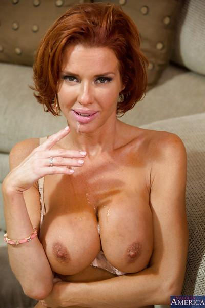 Decent redhead milf Veronica Avluv gifts her best blowjob to a dude
