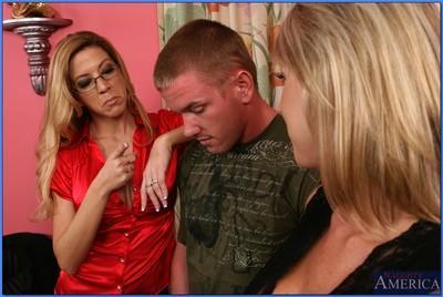 Blond MILF teacher and her busty girlfriends fucking a well hung stud