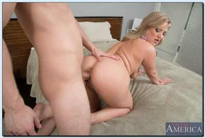 Lewd MILF Vicky Vixen seduces a younger lad and gets shafted tough