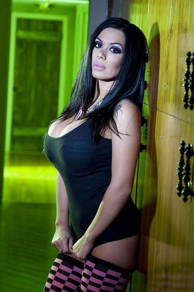 Juggy latina MILF in stockings stripping and caressing herself