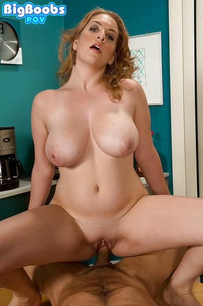 Hardcore Gonzo style titjob delivered in kitchen by busty Kali West