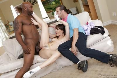 Dana DeArmond enjoys interracial twatting while a white guy watching