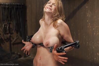 Busty MILF Rain DeGrey screams in pain while having nipples tortured