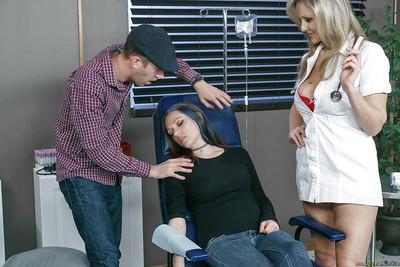 Blonde nurse Julia Ann fucking man while his girlfriend sleeps