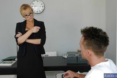 Blonde secretary whore sucking a huge cock in her glasses