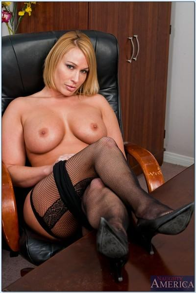 Stunning BBW MILF Mellanie Monroe strips to stockings in the office