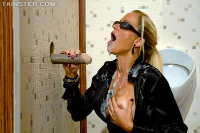 Fully clothed MILF in sunglasses Stacy Silver gets bukkaked with fake cum