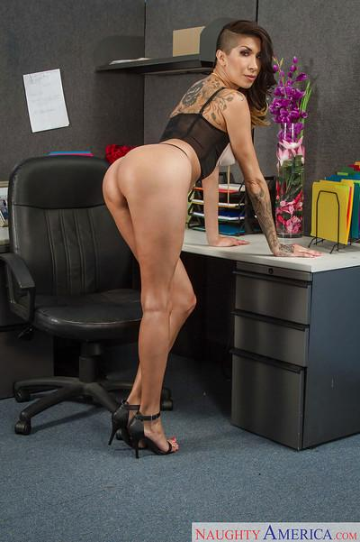 Latina Milf babe Kayla Carrera posing in tight skirt at the office