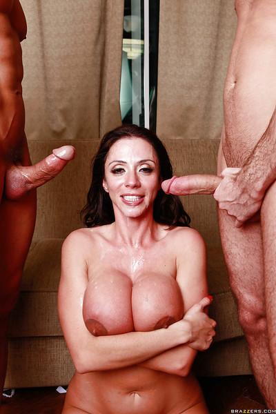 Big tit Latin Momma Ariella Ferrera sucking off a double dose of dick