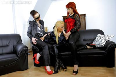 Kinky european lesbians have some slimy fun with strapons and fake jizz