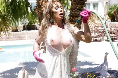Milf girl with wet big tits Farrah Dahl is showing off outdoor