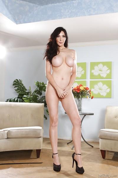 Pornstar brunette Diana Prince demonstrate her nice big boobies