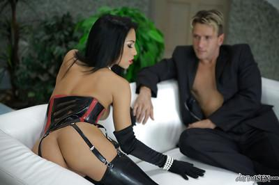 Hot chick in latex stockings Mya Diamond sucks and fucks a hard cock