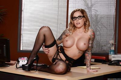 Lusty office babe in glasses Payton West loves undressing during work
