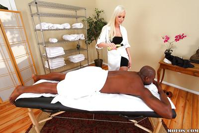 Slutty european masseuse Giselle Monet sucks and fucks a huge black dick
