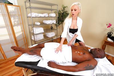 Slutty european masseuse Giselle Monet sucks and fucks a huge black dick