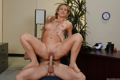 Busty blonde with braided hair takes the doctor
