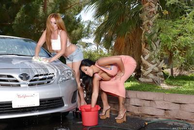 Latina lesbians Kianna Dior and Kiara Mia wash a car and have sex