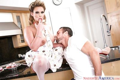 Blonde wife and pornstar Phoenix Marie giving blowjob to hubby in kitchen