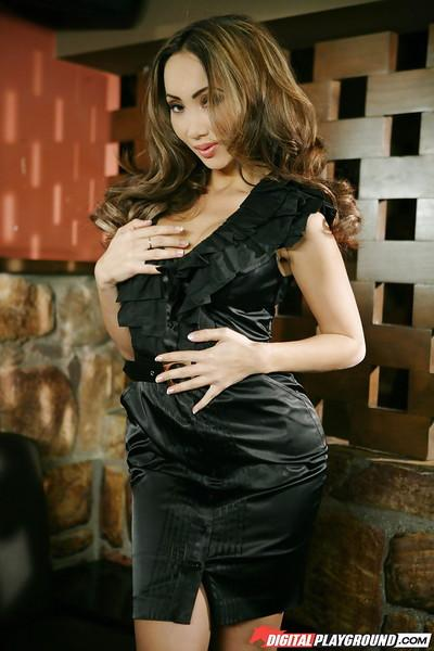 Enticing Asian milf Katsuni dances sweetly in amazing black dress