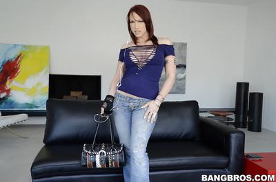Milf Nicki Hunter in blue jeans demonstrates her wonderful big tits